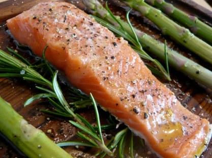 Planked Alaskan salmon and asparagus